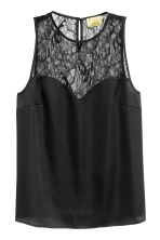 Sleeveless top with lace - Black - Ladies | H&M 1
